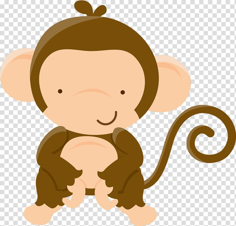 Brown monkey illustration, Baby shower Baby Jungle Animals Party.
