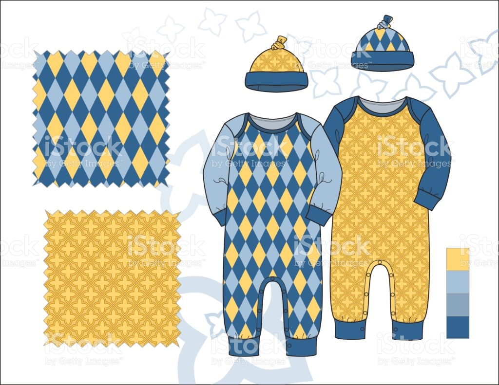 Infant Boy Lap Shoulder Onepiece With Knot Hat Illustration Yellow.