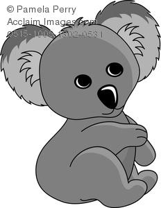Clip Art Image of a Cartoon Baby Koala Bear.