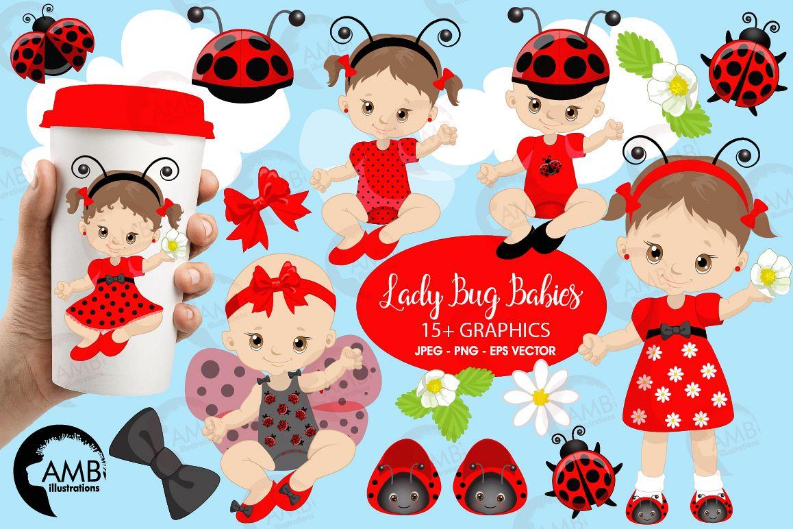 Ladybug babies, Ladybugs, clipart, graphics and illustrations AMB.