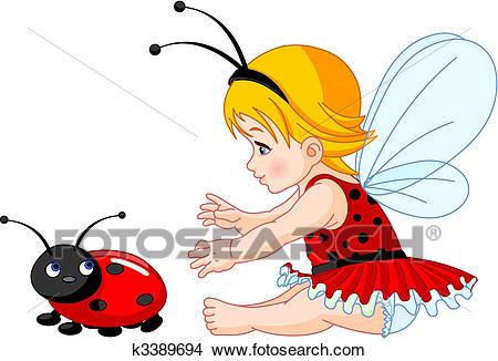 Cute baby fairy and ladybug Clipart.