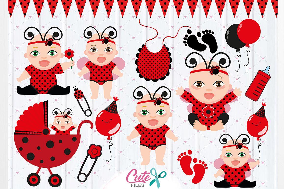 Baby Ladybug Clipart, Ladybug party, Baby Girls Clipart Set, ladybug vector  graphics, digital clipart, ladybug baby shower.