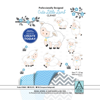 Baby Lamb sheep clipart , blue and white cute sheep , little lamb baby  shower.