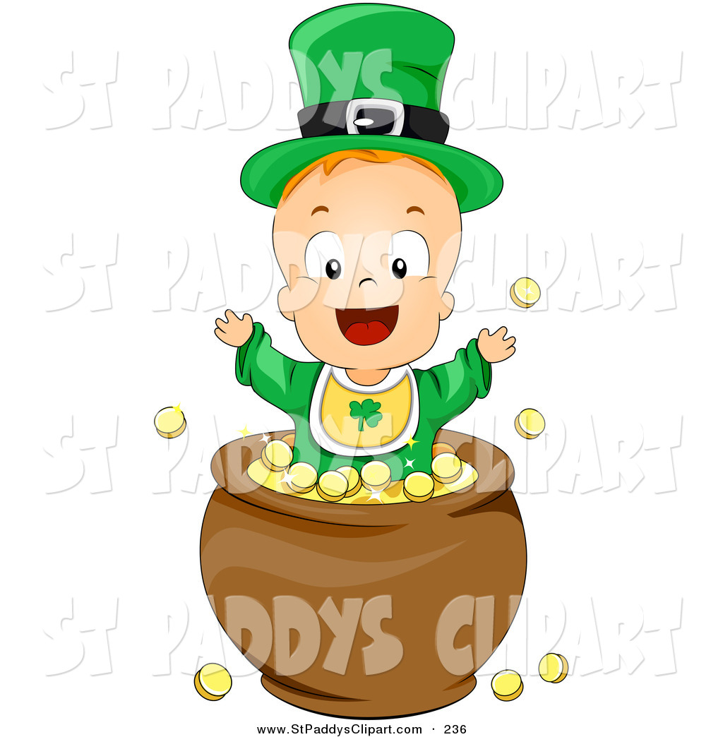Vector Clip Art of a Leprechaun Baby Playing in a Pot of Gold on.