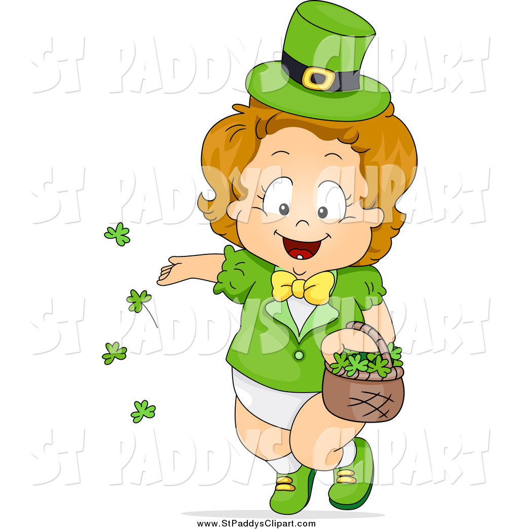 Royalty Free Stock St. Paddy&s Day Designs of Babies.