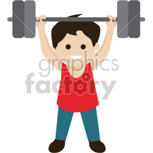 boy lifting weights clipart. Royalty.