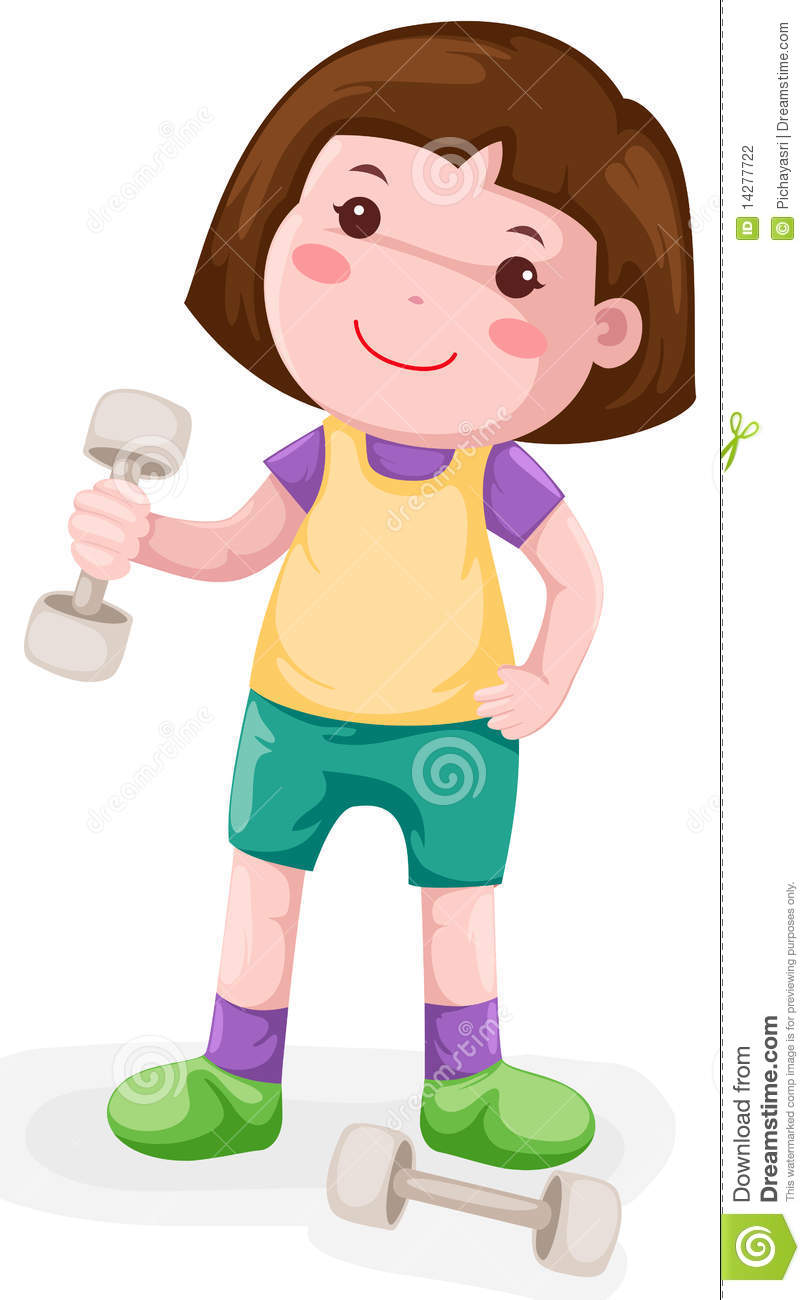 Girl Lifting Weights Clipart.