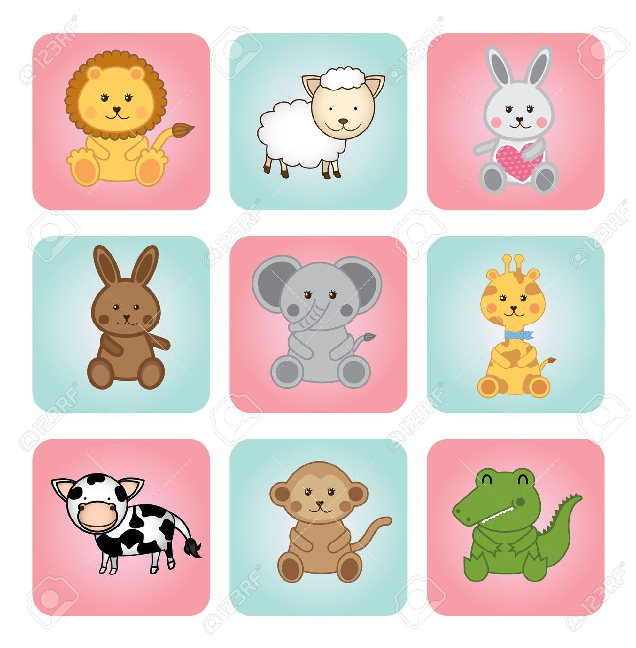 Animal Babies Over White Background Illustration Royalty Free.