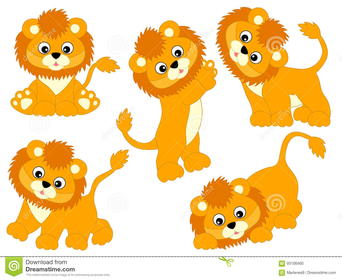 Vector Lions Set stock vector. Illustration of africa.