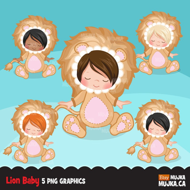 Baby Lion clipart Lion costume baby shower graphics card.