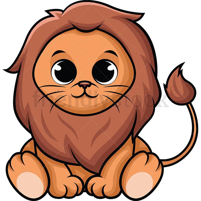 Cute Baby Lion Cartoon Vector Clipart.