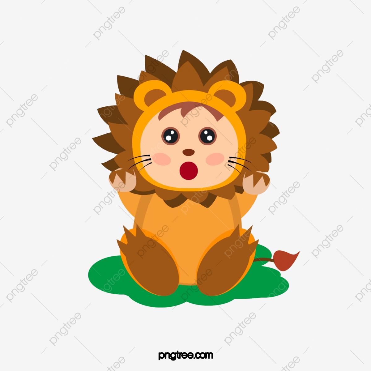 Vector Cute Baby Lion Dress, Cute Clipart, Baby Clipart, Lion.