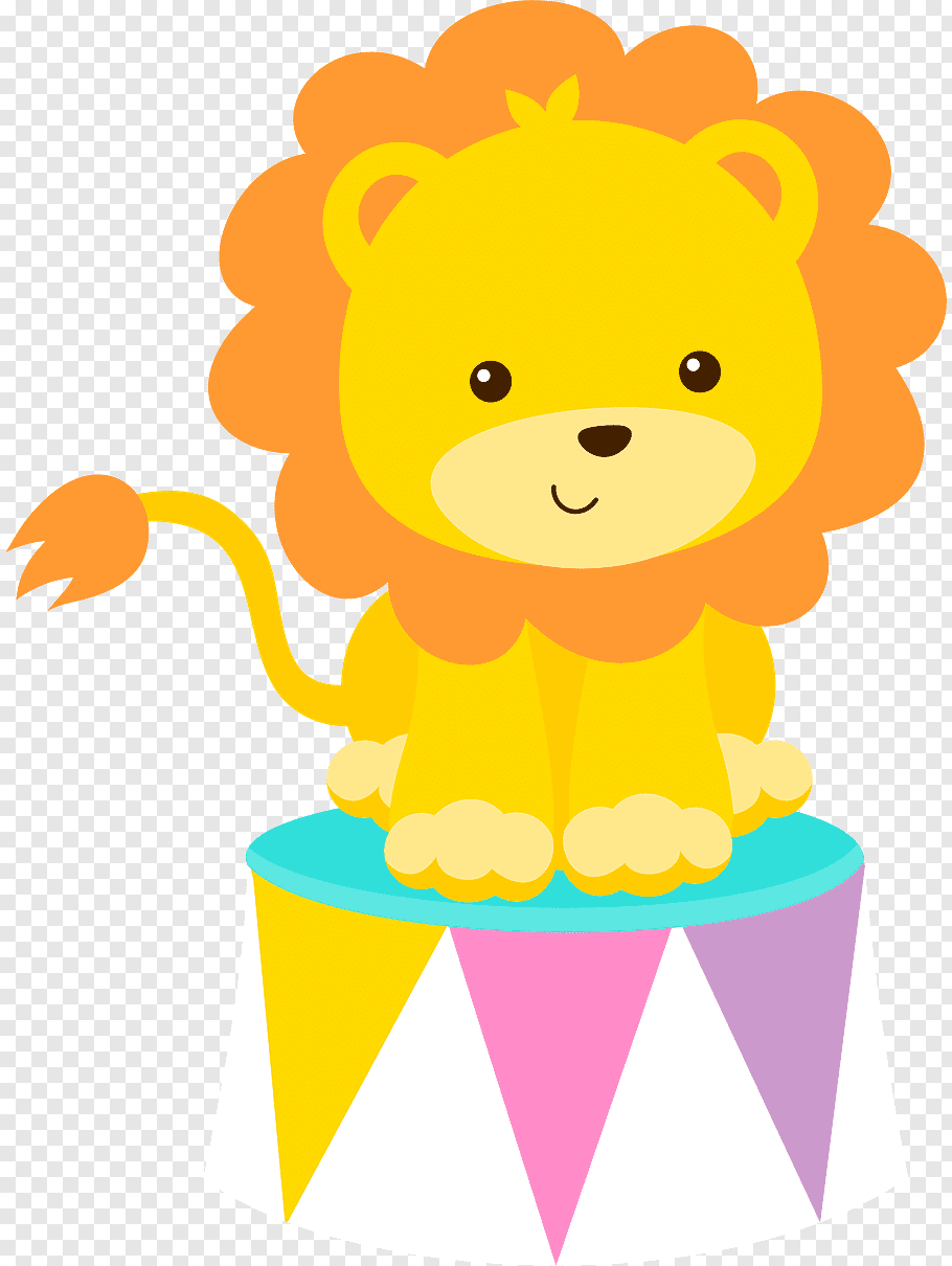 Baby lion on stand illustration, Baby Lions Circus Drawing.