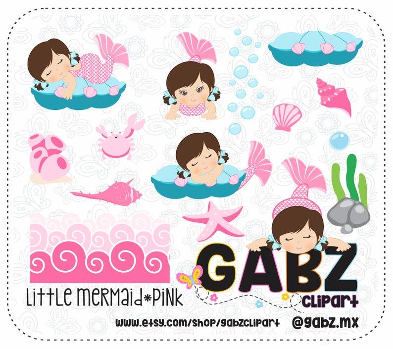 Little Mermaid, Pink, Baby Shower, Clipart, Baby Girl, Background, Baby  Shower Girl, Baby Mermaid, Mermaid, Gabz.