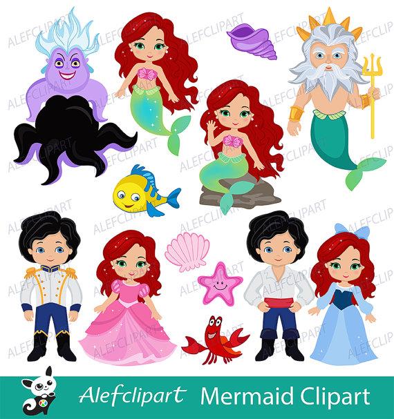 Mermaid, Little Mermaid Clipart, Mermaid Clipart, Princess Mermaid.
