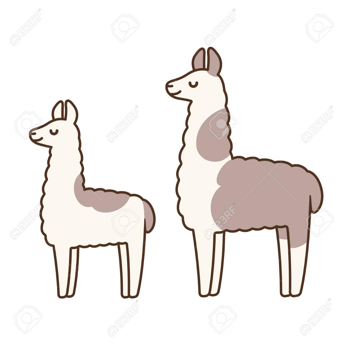 Cute and simple llamas drawing, adult and baby llama. Funny cartoon...
