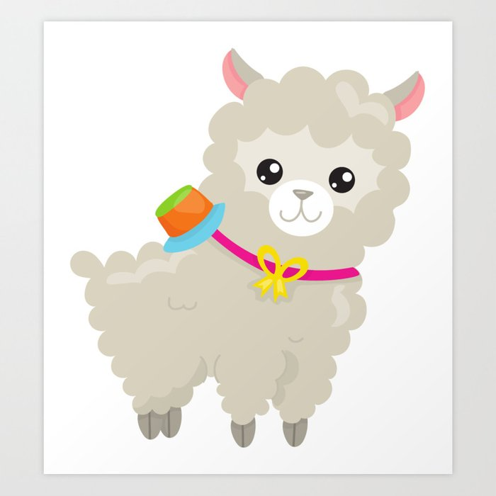 Cute Llama with Colorful Hat, Baby Llama Art Print by sitnica.