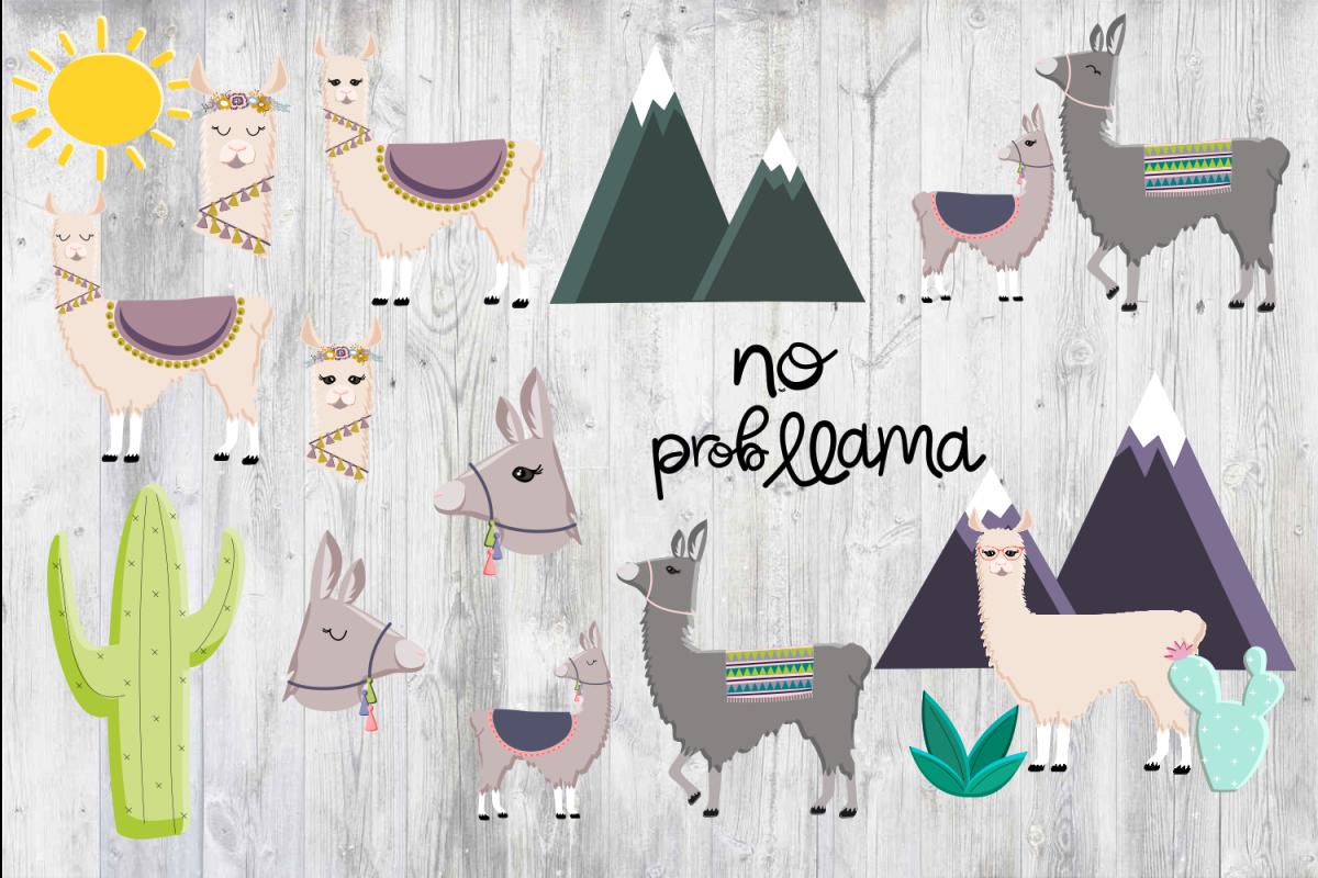 Llama Clipart PNG Baby Nursery Art No Prob Llama Cactus.