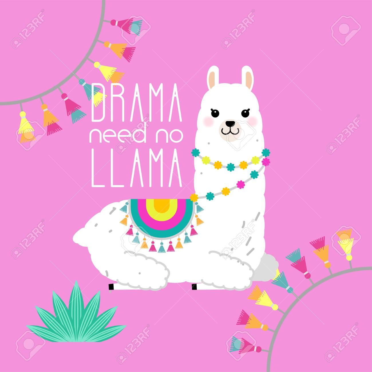 Cute llama and alpaca illustration for nursery design, poster,...