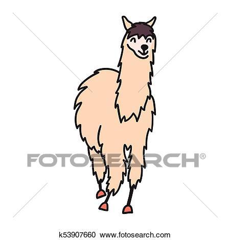 Vector, isolated outline cartoon baby llama. Clipart.