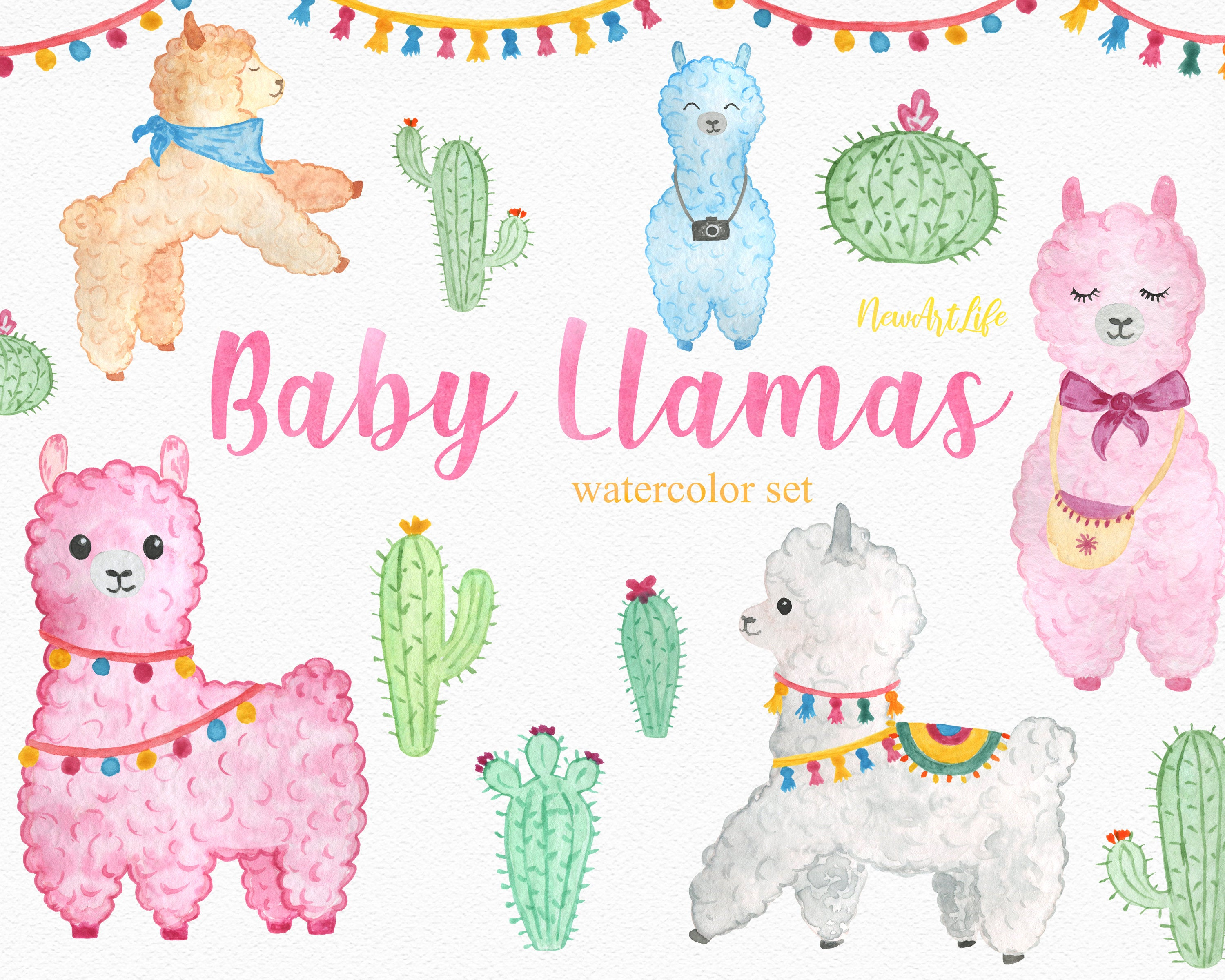 Baby Llama Watercolor Clipart Set, Instant Digital Download PNG Alpaca  Cactus Baby Shower Birthday Invitation Flowers Baby Animals Party Art.