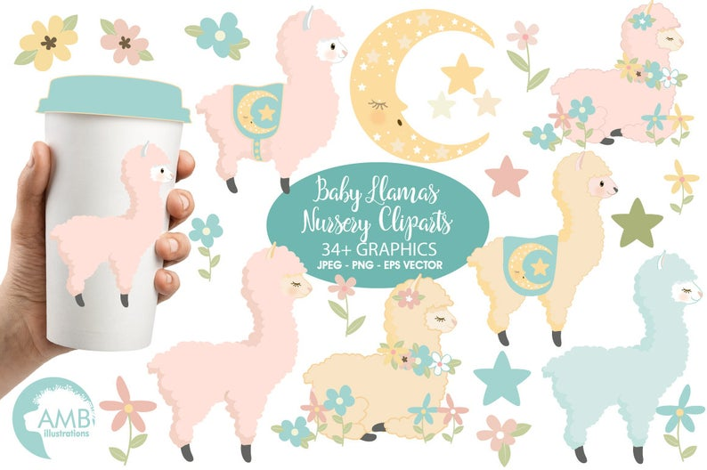Baby Llama Clip Art, Llama clipart, Baby Alpaca clipart for scrapbooking,  Cupcake Toppers, Paper Crafts, AMB.