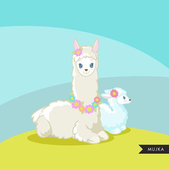 Llama clipart. Cute Mama Llamas for Mother's Day, animal graphics.