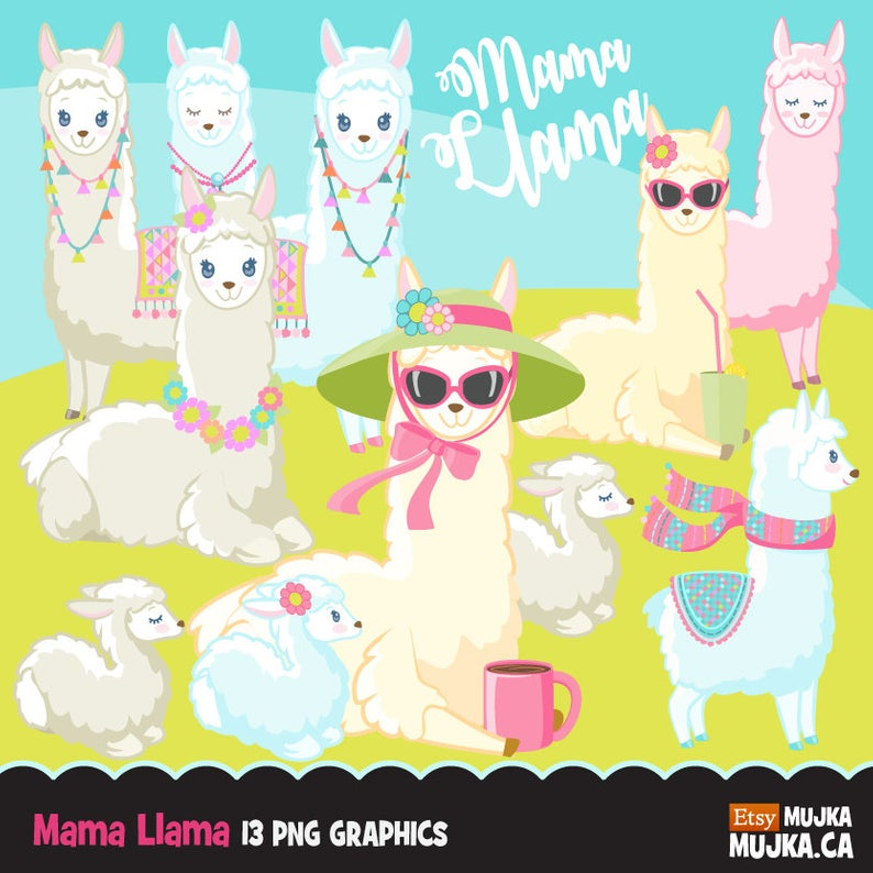 Llama clipart. Cute Mama Llamas for Mother's Day, animal graphics, baby  llama, party printables, digitized embroidery, planner stickers.