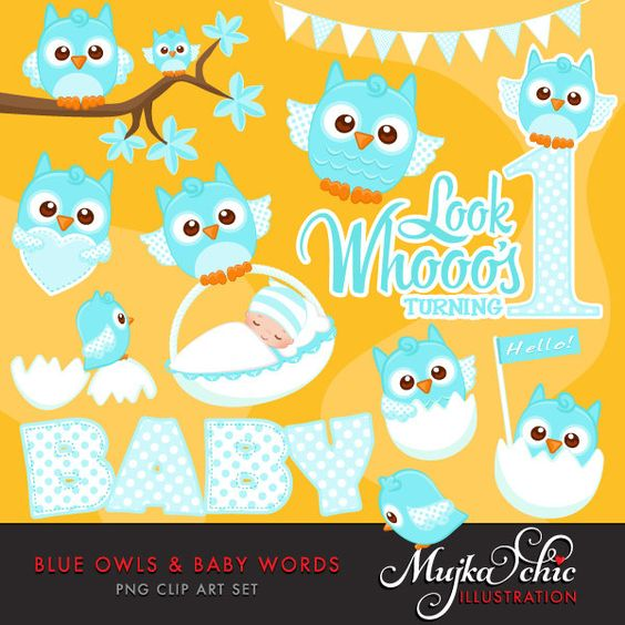 Blue Owls Clipart with Baby Wording. Cute Baby owls, new baby.