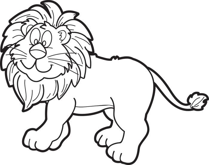 Cartoon Male Lion Coloring Page.