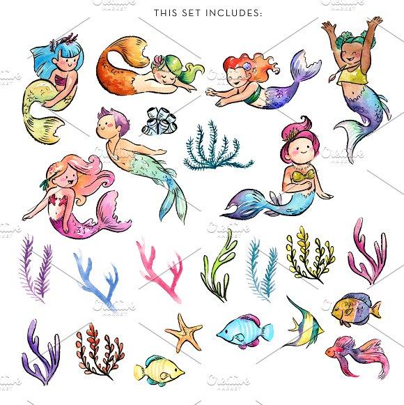 Watercolor Baby Mermaids Clipart.