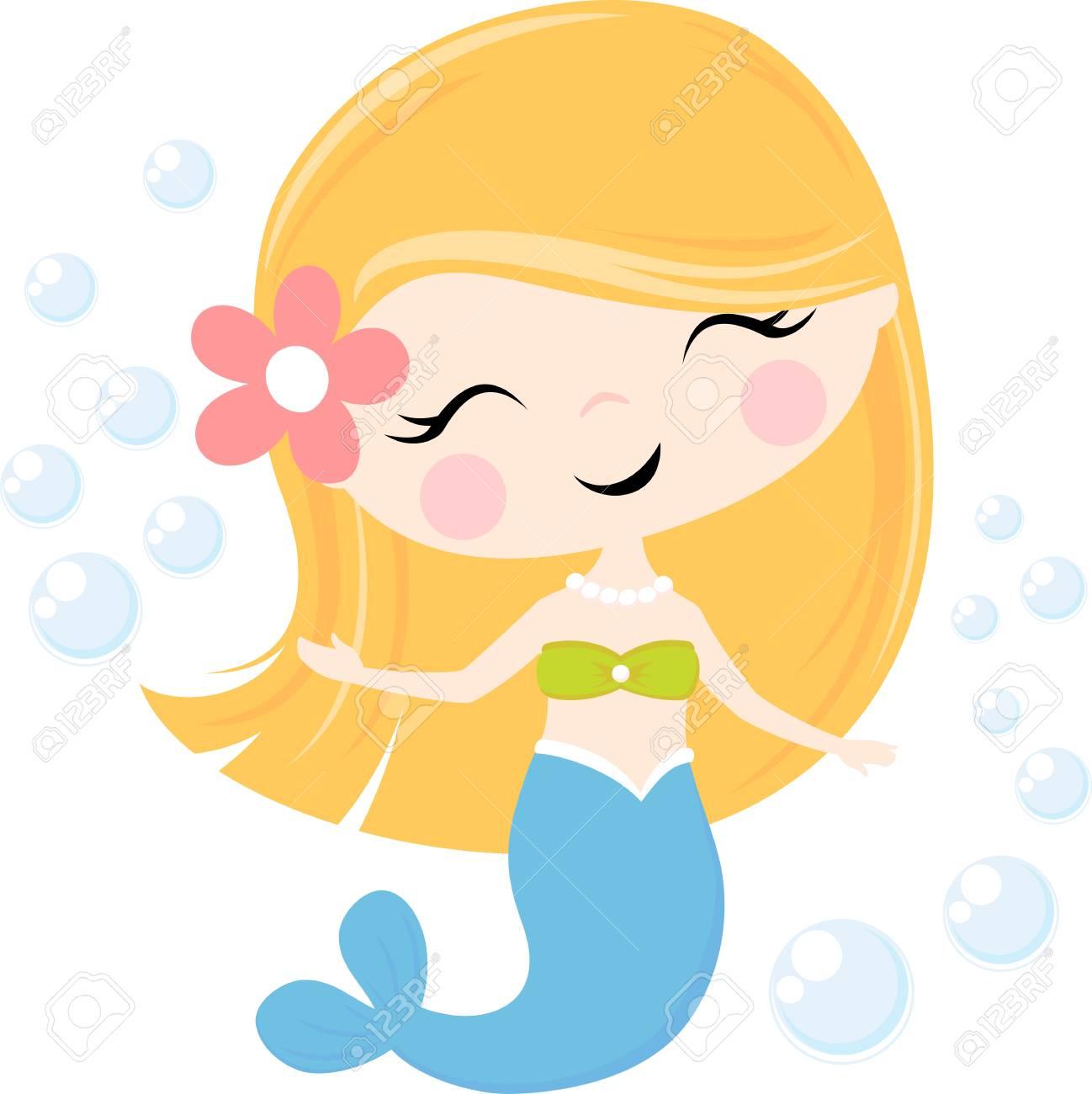 cute little mermaid illustration isolated on white, design for...