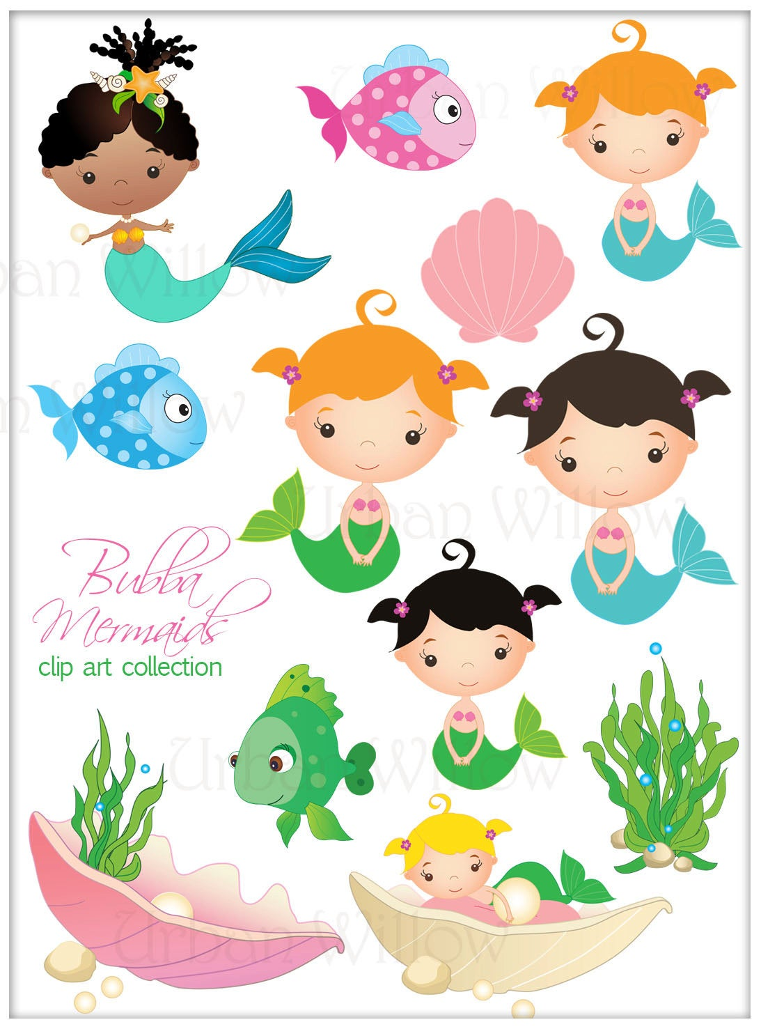 Mermaid Clipart, Cute Mermaid Clipart, Seaweed and Fish Graphics, Digital  Clipart Mermaid, African American Mermaid, Cute fish Clipart.