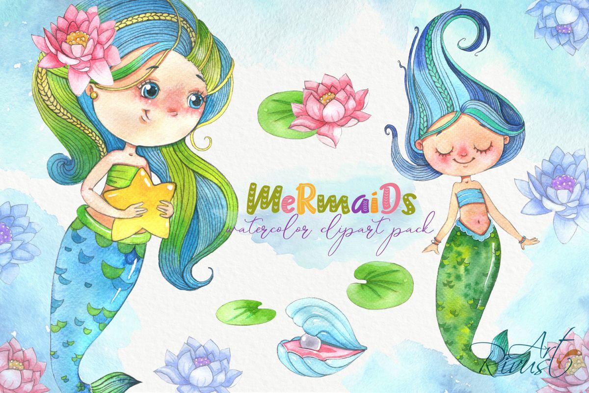 Cute mermaids clipart pack. Watercolor clip art baby shower.