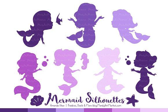 Shades of Purple Mermaid Clipart.