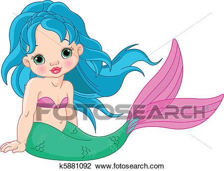 Mermaid baby Girl Clipart.