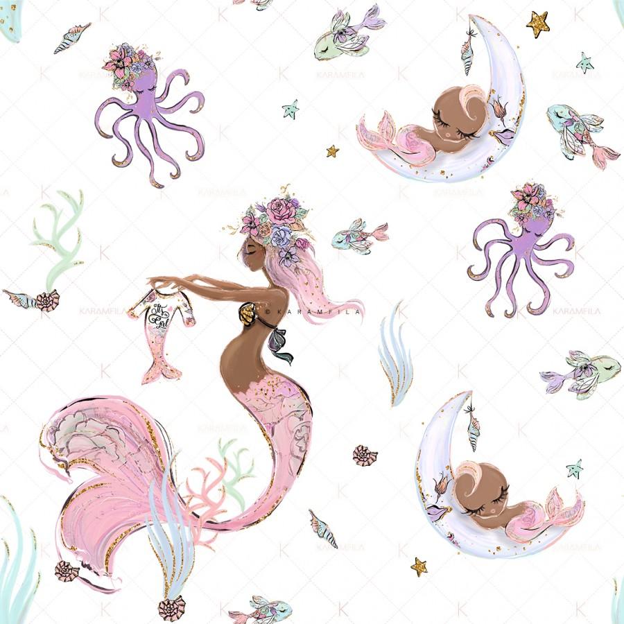Mermaid Baby Shower Clipart.