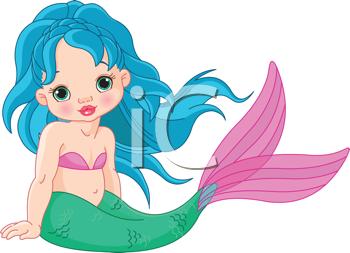 Illustration of a cute baby mermaid girl #438474.