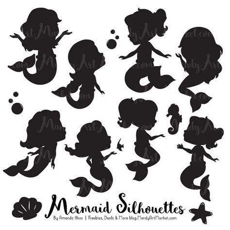 Süße Meerjungfrau Silhouette Clipart.