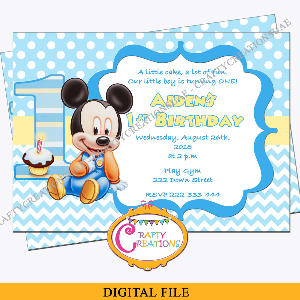 Baby Mickey Mouse First Birthday Invitation, Mickey Mouse 1st Birthday  Party Invite.