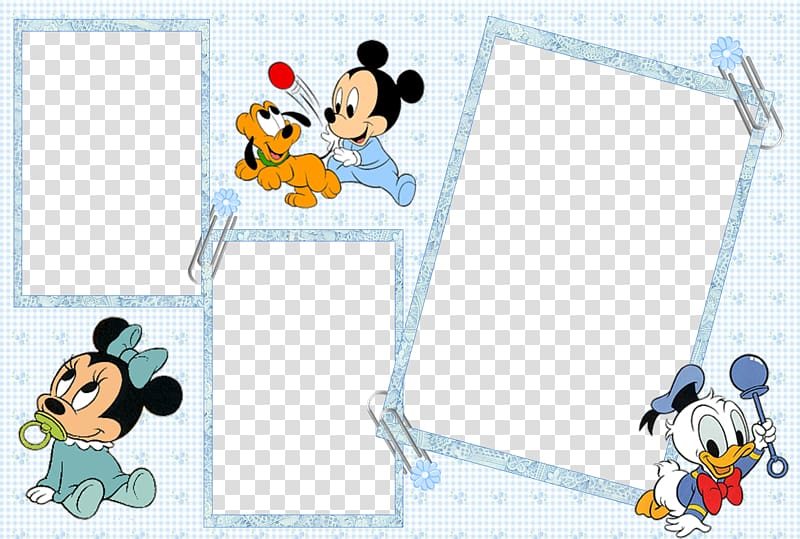 Baby Mickey Mouse, Minnie Mouse, and Donald Duck collage art.