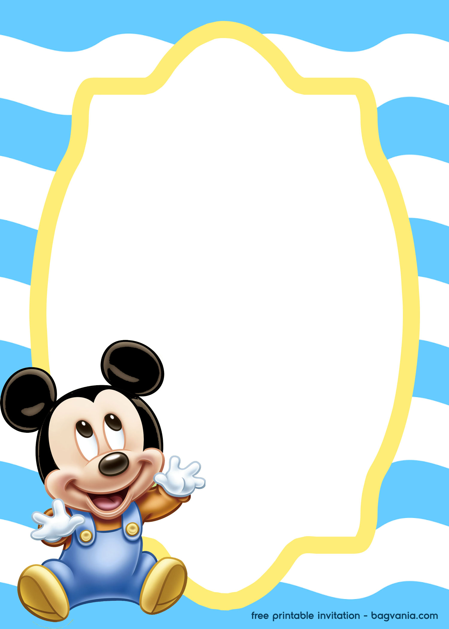 FREE Mickey Mouse Baby invitation template.