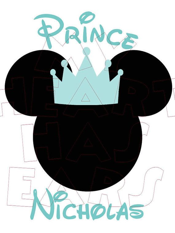 Printable Prince Mickey Mouse PERSONALIZED digital clip art.