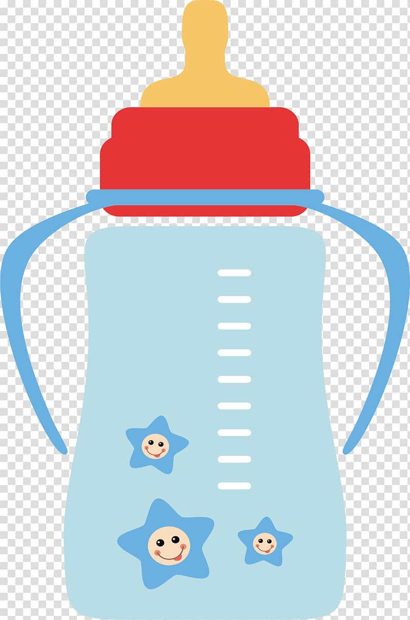 Red, yellow, and blue feeding bottle , Baby bottle Infant Milk.