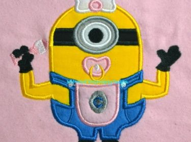 Minion with Pacifier Applique Machine Embroidery Design.
