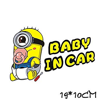 Out24© Minion Baby in Car Sticker, 19 x 10 cm: Amazon.co.uk.