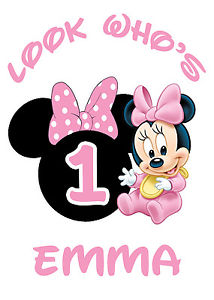 Baby Minnie Mouse 1st Birthday Iron On Transfer Tshirt Design.