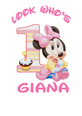 Baby Minnie 1st Birthday Iron On Transfer.