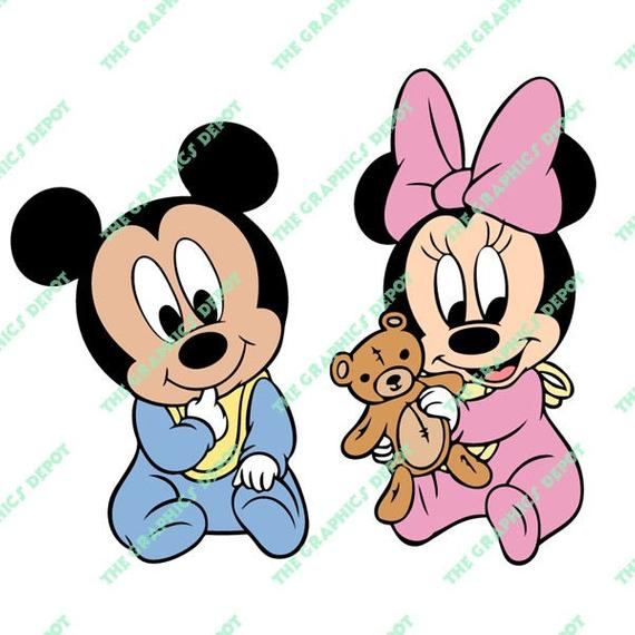 Baby Mickey Mouse, Baby Minnie Mouse svg, dxf, png, eps files.