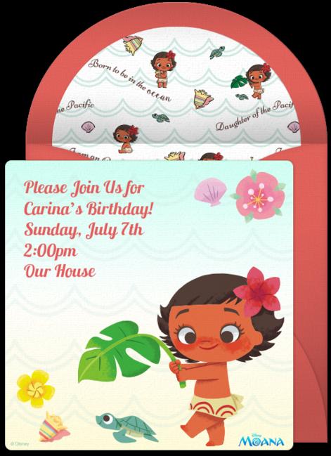Baby Moana Online Invitation.